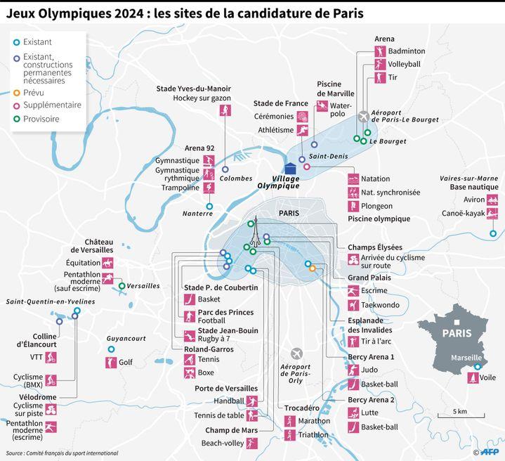 Principaux sites de la candidature de Paris aux Jeux Olympiques de 2024