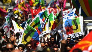 LaFSU fait partie des syndicats présents, jeudi 13 septembre 2017, lors de la réunion de l'intersyndicale de la fonction publique. (Photo d'illustration) (BORIS HORVAT / AFP)