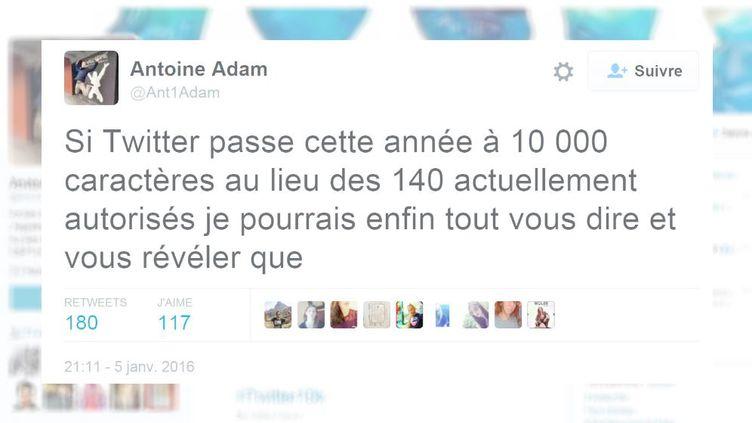 Antoine Adam, un internaute, critique le possible changement de format de Twitter, passant de 140 à 10 000 caractères, annoncé le 5 janvier 2016. (FRANCETV INFO)