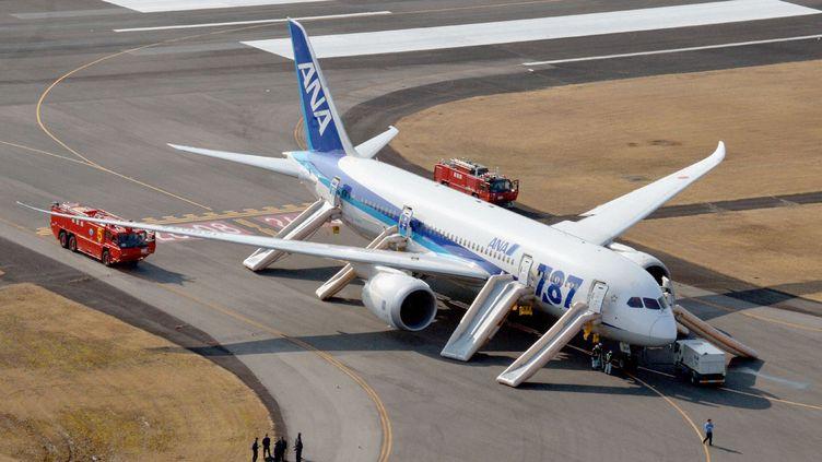 Les passagers d'un Boeing 787 Dreamliner sont évacués, le 16 janvier 2013 à Takamatsu(Japon), après un atterrissage d'urgence dû à un incident. (KYODO / REUTERS)