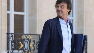 Le ministre de l'ÉcologieNicolas Hulot quitte l'Elysée, le 14 mars 2018 à Paris. (LUDOVIC MARIN / AFP)