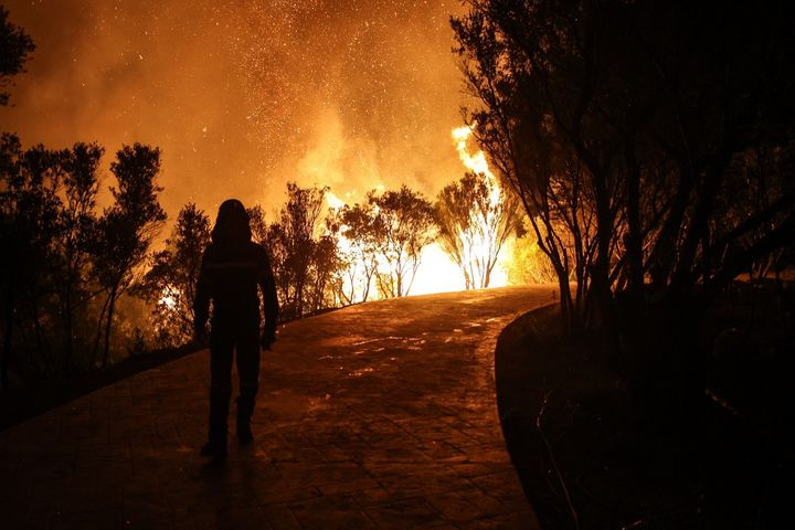 Un pompier lors d'un incendie près d'Athènes, en Grèce, le 3 août 2021. (ARIS OIKONOMOU / HANS LUCAS / AFP)