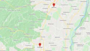 La région de Colmar (Haut-Rhin) et de Sélestat (Bas-Rhin) (GOOGLE MAPS / FRANCEINFO)
