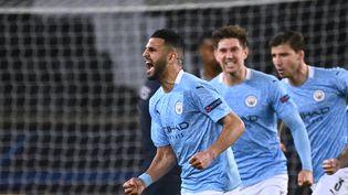 Riyad Mahreza inscrit un doublé face au PSG mardi 4 mai et a permis la qualification de City en finale de la Ligue des champions. (ANNE-CHRISTINE POUJOULAT / AFP)