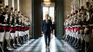 Emmanuel Macron au château de Versailles (Yvelines), le 3 juillet 2017. (ETIENNE LAURENT / AFP)