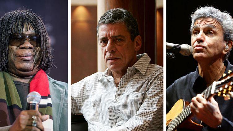 Milton Nascimento, Chico Buarque et Caetano Veloso (de gauche à droite)  (Yasuyoshi Chiba, Lluis Gene, Philippe Merle / AFP)