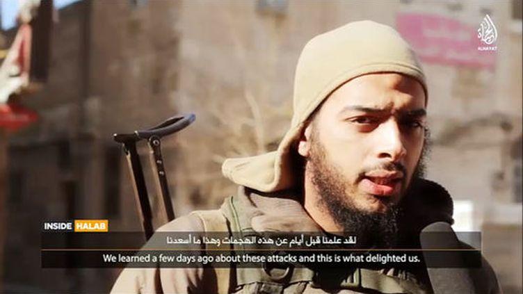 Capture d'écran d'une vidéo de propagande du groupeEtat islamique dans laquelle apparaîtle Français Salim Benghalem. (DR)