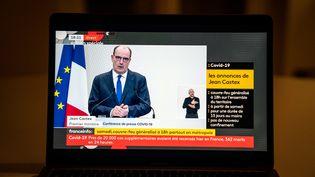Le Premier ministre, Jean Castex, lors d'une conférence de presse sur la situationsanitaire, le 14 janvier 2021, à Paris. (GABRIELLE CEZARD / HANS LUCAS / AFP)