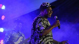 Le chanteur congolais Papa Wemba lors d'un concert à Nairobi (Kenya), le 24 août 2014. (TONY KARUMBA / AFP)
