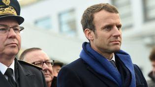 Emmanuel Macron à Boulogne-sur-Mer. (FRANCOIS LO PRESTI / AFP)