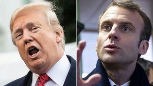 Donald Trump s'adresse à la presse depuis la Maison Blanche, le 9 novembre 2018 (à gauche). Emmanuel Macron dans un bar à Lens (Pas-de-Calais), le 9 novembre 2018 (à droite). (NICHOLAS KAMM / AFP)