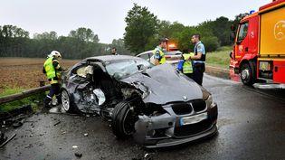 Un accident mortel à Thiers (Puy-de-Dôme), le 27 mai 2018. (REMI DUGNE / MAXPPP)