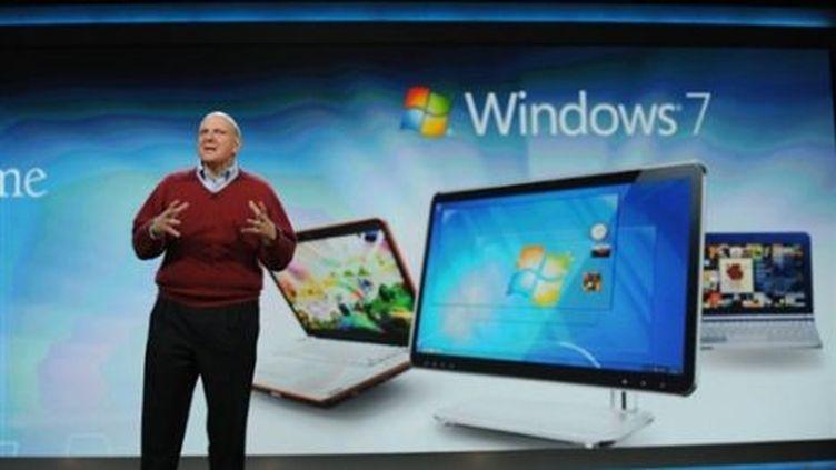 Le directeur général de Microsoft, Steve Ballmer, à Las Vegas (Nevada, Etats-Unis), le 7 janvier 2010. (AFP PHOTO / Robyn Beck)