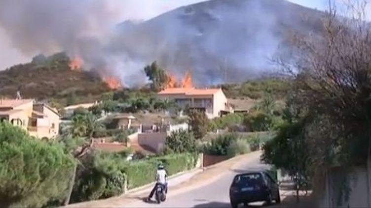Un incendie de maquis attisé par un vent violent et menaçant des habitations s'est déclaré vendredi 31 août aux portes d'Ajaccio (Corse du Sud). (FTVI / FRANCE 3 CORSE)