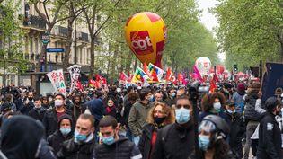 Plusieurs syndicatsmanifestent le 1er mai 2021 à Paris. (AMAURY CORNU / HANS LUCAS / AFP)