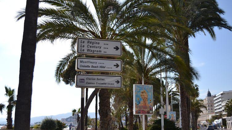 Des panneaux indiquant la direction d'hôtels, dans le centre de Cannes, le 16 avril 2020. (NOEMIE BONNIN / RADIO FRANCE)