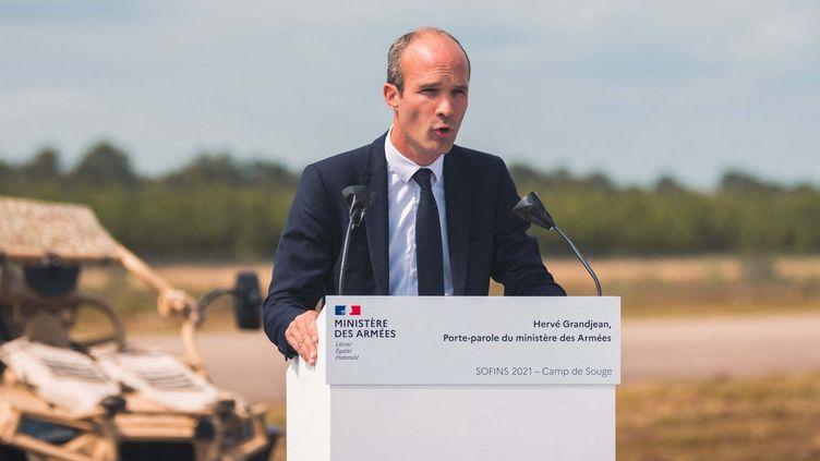 Herve Grandjean, porte-parole du ministère des Armées pendant le séminaire du réseau d'innovation des forces d'opérations spéciales (SOFINS) à Martignas-sur-Jalle le 1er juin 2021. (BENJAMIN GUILLOT-MOUEIX / HANS LUCAS / HANS LUCAS VIA AFP)
