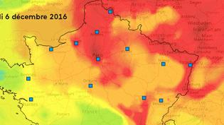 L'évolution de la pollution aux particules fines entre le 28 novembre et le 8 décembre 2016 en France, selon l'observatoire Prev'air. (FRANCEINFO)