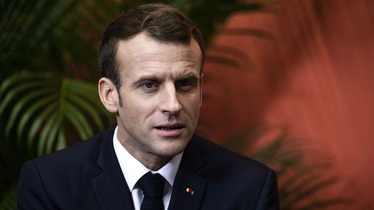 Le président de la République Emmanuel Macron lors d'un déplacement à Lens (Pas-de-Calais), le 9 novembre 2018. (ETIENNE LAURENT / AFP)