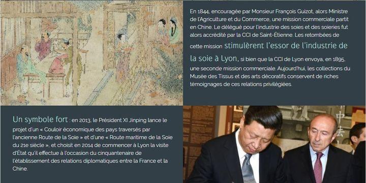Le président chinois Xi Jinping au côté du maire de Lyon Gérard Collomb, lors de sa visite de 2014. (Capture d'écran / IFC)