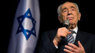 L'ancien président Shimon Pereslors d'une conférence de presse à Sderot (Israël), le 6 juillet 2014. (AMIR COHEN / REUTERS / AFP)