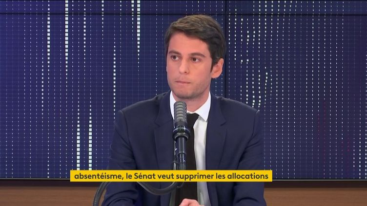 Gabriel Attal, porte-parole du gouvernement, invité du 8H30 franceinfo, vendredi 16 avril 2021. (FRANCEINFO)