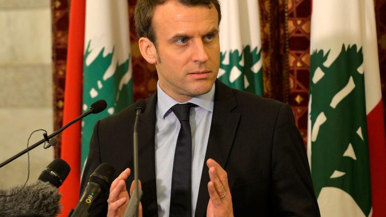 Emmanuel Macron, le 24 janvier 2017, à Beyrouth, au Liban. (HOUSSAM SHBARO / ANADOLU AGENCY)
