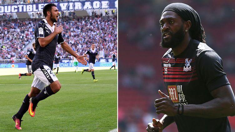 Gaetan Laborde, l'attaquant de Bordeaux et Emmanuel Adebayor, sous le maillot de Crystal Palace, les deux pistes en attaque pour l'OL