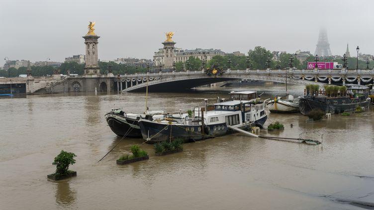 La Seine déborde sur les quais près de la tour Eiffel, à Paris, le 1er juin 2016. (CITIZENSIDE / DAVID BERTHO / AFP)