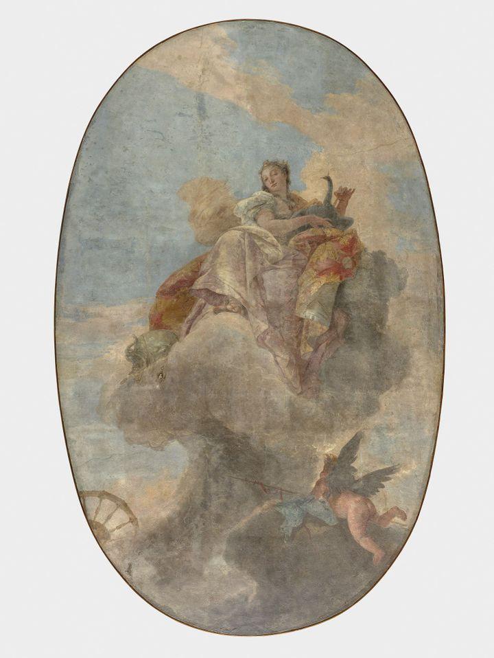 Giambattista Tiepolo, Junon au milieu des nuées, fresque détachée et montée sur parquetage en bois, vers 1735  (© 2020 Musée du Louvre - Herve Lewandowski)
