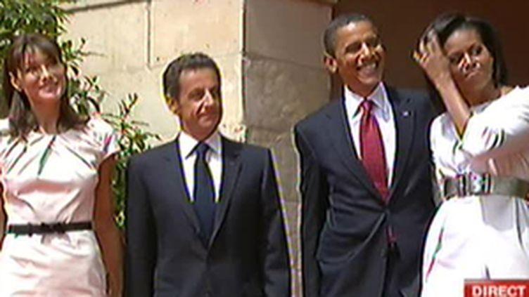 Les couples Sarkozy et Obama à Caen, le 6 juin 2009 (© France 2)