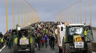 Des manifestants opposés au projet d'aéroport de Notre-Dame-des-Landes marchent sur un pont de Nantes (Loire-Atlantique), le 9 janvier 2016. (STEPHANE MAHE / REUTERS)