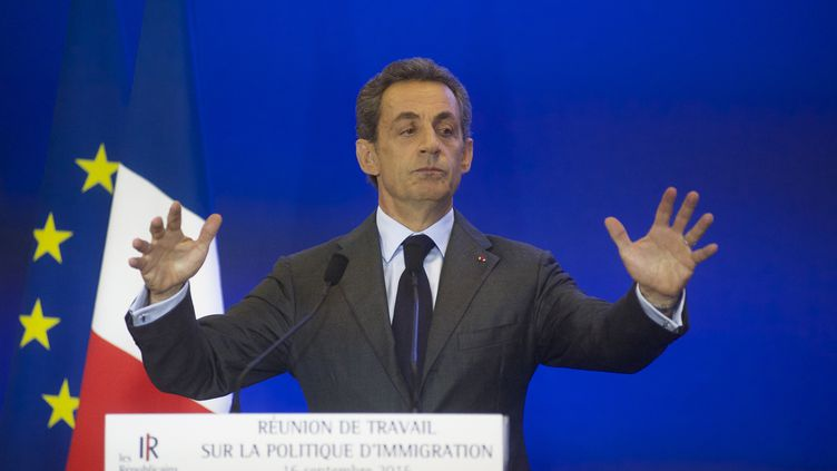 Nicolas Sarkozy lors d'un discours au siège des Républicains, le 16 septembre 2015 à Paris. (CITIZENSIDE/PATRICE PIERROT / CITIZENSIDE.COM)