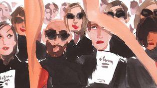 """Fashion Illustrators"" : détail du croquis Runway d'Izak Zenou  (Izak Zenou)"