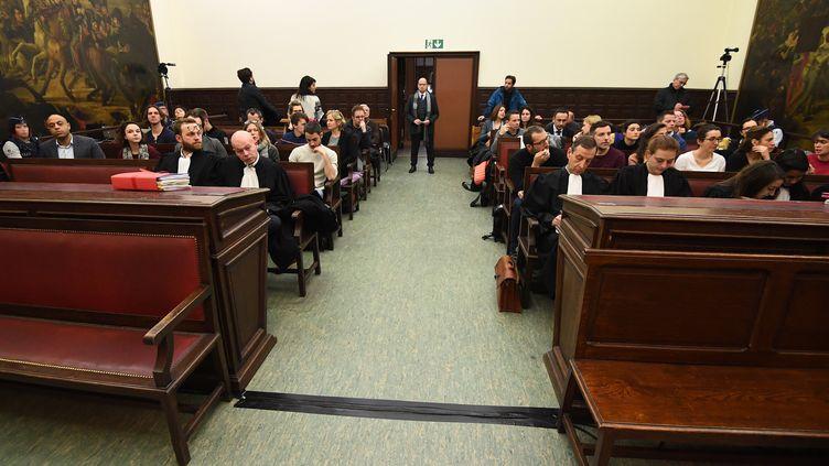 Au premier jour du procès de Salah Abdeslam, lundi 5 février 2018, autribunal de première instance francophone de Bruxelles(Belgique). (EMANUEL DUNAND / AFP)
