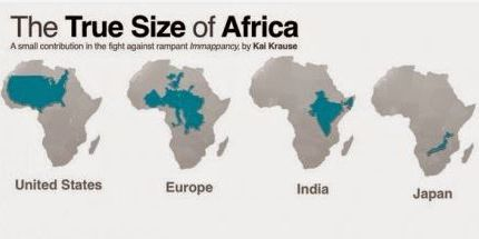Vues de la carte de l'Afrique avec pays ou continent. Intégrée dans l'Afrique, l'Europe fait petite. (carte tirée du site de Kai Krause) (Kai Krause)