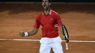 Novak Djokovic a bataillé face à Lorenzo Sonego mais s'est imposé en trois sets. (FILIPPO MONTEFORTE / AFP)
