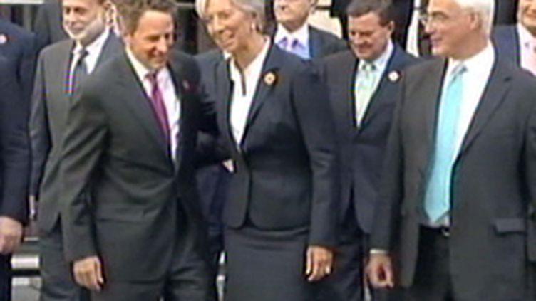 Christine Lagarde à Londres samedi aux côtés des ministres des Finances des pays du G20. (© F2)