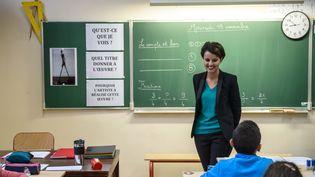 Najat Vallaud-Belkacem en visiteà l'école élémentaire Jean-Rostand de Bondy, en Seine-Saint-Denis, le 19 novembre 2014. (MAXPPP)