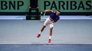 Jo-Wilfried Tsonga lors de la finale de la Coupe Davis, le 26 novembre 2017 à Lille. (DENIS CHARLET / AFP)