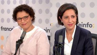 """Sarah El Haïry, la secrétaire d'Etat à la Jeunesse et à l'Engagement, et Fatiha Agag-Boudjahlat, professeure d'histoire-géographie à Toulouse et militante féministe, étaient les invitées du """"8h30 franceinfo"""" samedi 16 octobre 2021. (FRANCEINFO / RADIOFRANCE)"""