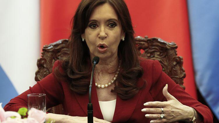 La présidente argentine, Cristina Kirchner, à Pékin (Chine), le 4 février 2015. (ROLEX DELA PENA / AFP)