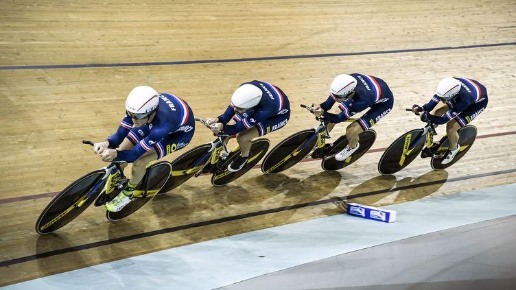 L'équipe de France de poursuite championne d'Europe (PHILIPPE LOPEZ / AFP)