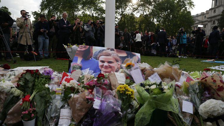 Une cérémonie d'hommage à la députée britannique Jo Cox, le 17 juin 2016, devant le Parlement à Londres. (DANIEL LEAL-OLIVAS / AFP)