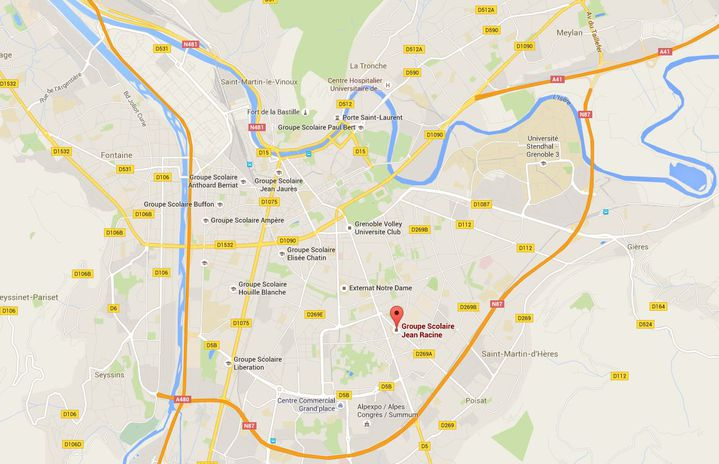 Carte pointant le groupe scolaire Jean Racine dans le quartier de Teisseire (sud de Grenoble), à proximité duquel aeu lieuune fusillade, le 25 avril 2016. (GOOGLE MAPS)