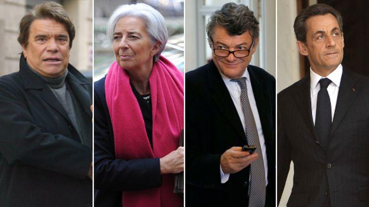"""Bernard Tapie, Christine Lagarde, Jean-Louis Borloo et Nicolas Sarkozy : quatre noms cités de près ou de loin dans """"l'affaire Tapie"""". (AFP / MONTAGE FRANCETV INFO)"""