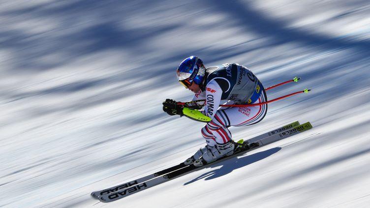 Alexis Pinturault sur le super G du combiné alpin aux Mondiaux, lundi 15 février 2021. (ANDREAS SOLARO / AFP)