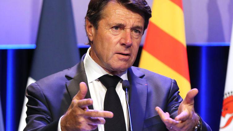 Le maire de Nice (Alpes-Maritimes) Christian Estrosi (LR), s'exprimant au Congrèsinternational des victimes du terrorisme, le 21 novembre 2019. (VALERY HACHE / AFP)