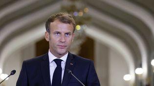 Emmanuel Macron lors d'une conférence de presse à Bagdad, le 28 août 2021, en Irak. (LUDOVIC MARIN / AFP)
