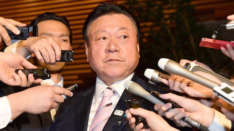 Yoshitaka Sakurada, le ministrejaponais chargé des Jeux olympiques 2020, annonce sa démission le 10 avril 2019 à Tokyo. (SHOHEI IZUMI / YOMIURI)